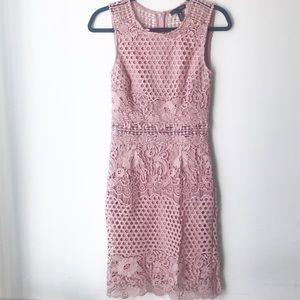 Aqua rose pink crochet dress